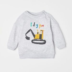 H&M I Dig You Grey Boys Pullover Sweater 12-18 no